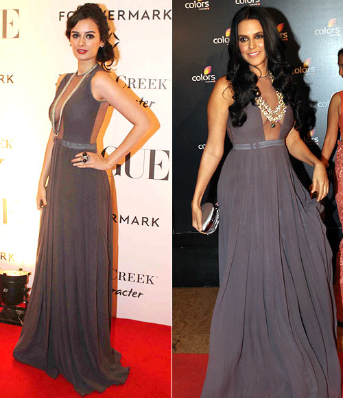 Evelyn Sharma and (right) Neha Dhupia in Sailex