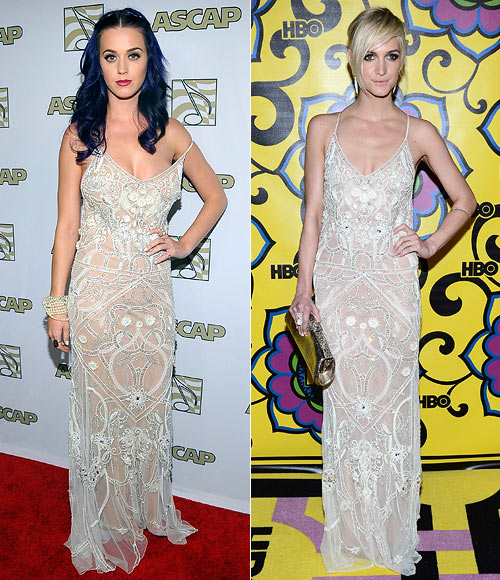 Katy Perry and (right) Ashlee Simpson in Temperley London