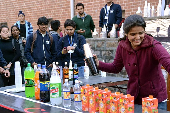 A student participates in Artisia, the Annual fest by SRCC's Fine Arts Society
