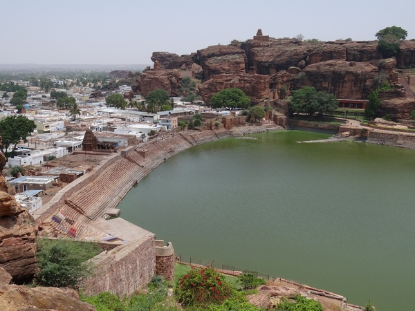 North Hill, Lake and Badami Town -- View from South Hill