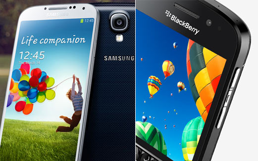 A collage of Samsung Galaxy S4 and BlackBerry Q10