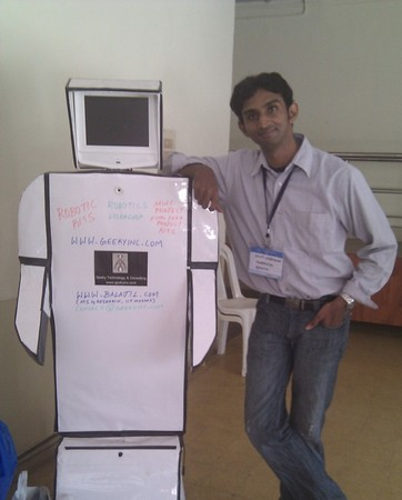 Balaji Lakshmanan with a prototype