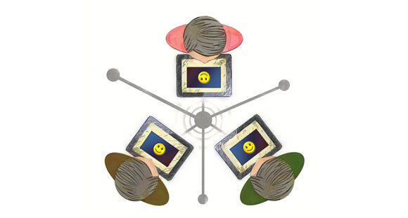 An illustration of students using technology to interact with each other