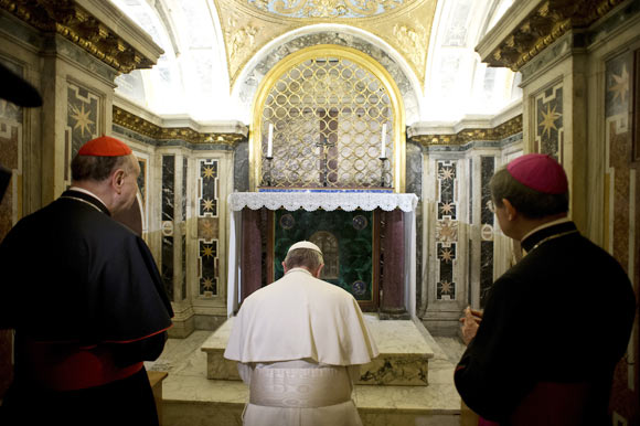 Pope Francis visits the Vatican Necropolis below the Saint Peter's Basilica at the Vatican April 1, 2013.