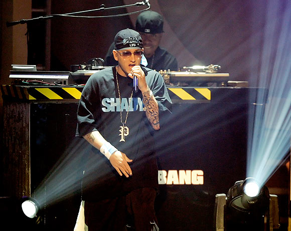 Rap artist Eminem performs during the 2006 BET Awards at the Shrine Auditorium in Los Angeles.