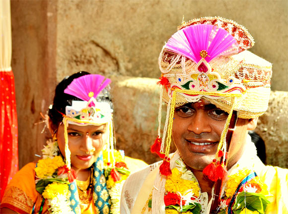 Manish Kamble and his bride on their wedding day
