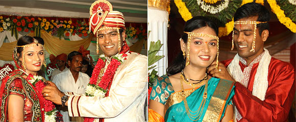 Atish Narlawar and his bride on their wedding day
