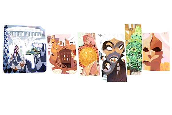 Google doodles for Antoni Gaudi's 161st birthday
