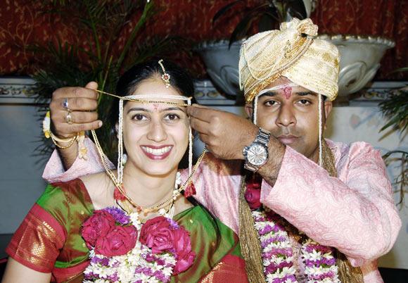 Amit Malvadkar with his bride