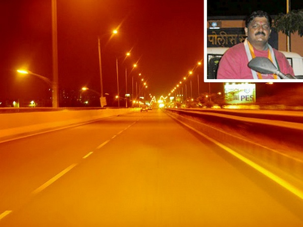 Mohit Sabnis (inset) holds the record for riding around the Golden Quadrilateral in 116.5 hours. Seen here is the Bengaluru's Hosur Road Elevated Expressway.
