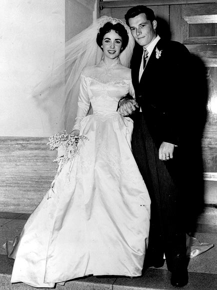 Elizabeth Taylor and hotelier Conrad Hilton on the day of their wedding in Hollywood, May 6, 1950