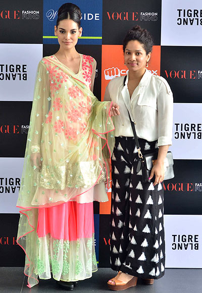 Vogue Fashion Fund 2013 semi-finalist Masaba Gupta with a creation from her latest collection