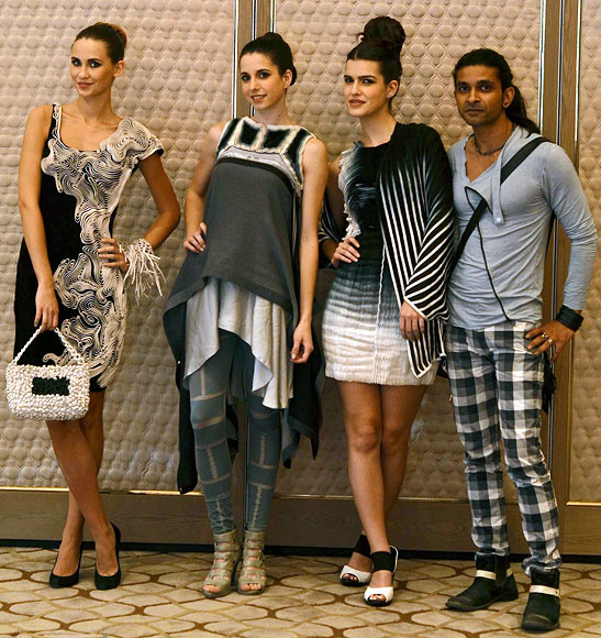 Vogue Fashion Fund 2013 semi-finalist Ritesh Kumar with creations from his latest collection