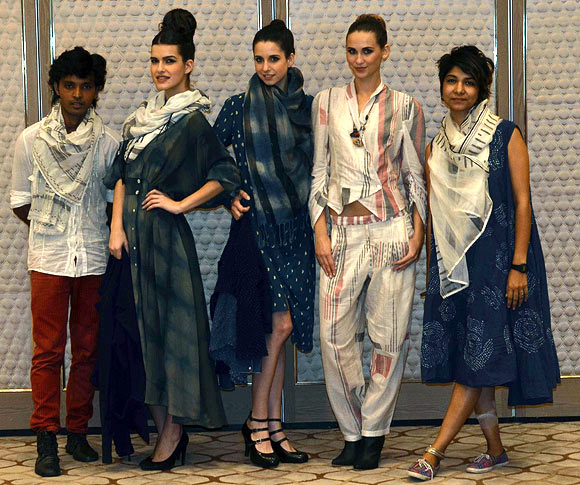 Vogue Fashion Fund 2013 semi-finalists Shani Himanshu and Smita Singh Rathore with creations from their latest collection