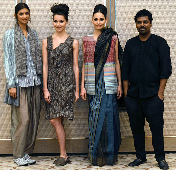 Vogue Fashion Fund 2013 semi-finalist Gaurav Jai Gupta with creations from his latest collection