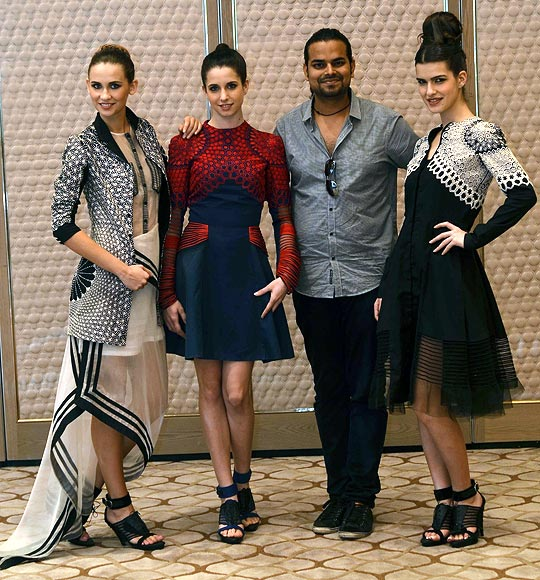 Vogue Fashion Fund 2013 semi-finalist Rahul Mishra with creations from his latest collection