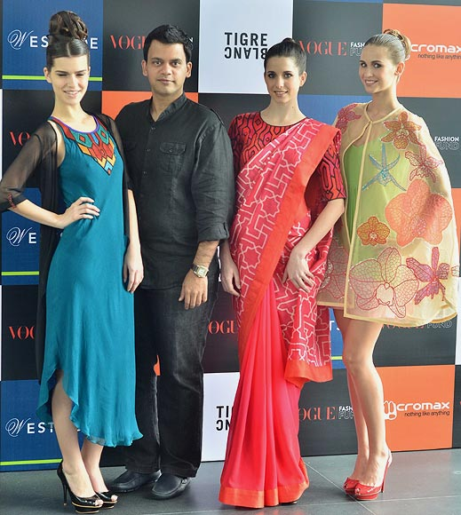 Vogue Fashion Fund 2013 semi-finalist Nachiket Barve with creations from his latest collection