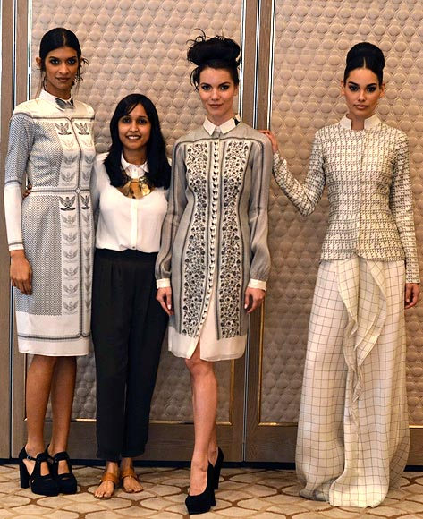 Vogue Fashion Fund 2013 semi-finalist Priyanka Modi with creations from her latest collection