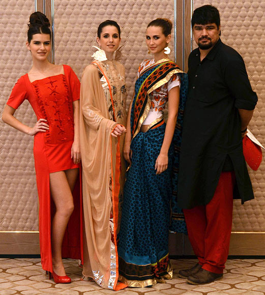 Vogue Fashion Fund 2013 semi-finalist Yogesh Chaudhary with creations from his latest collection