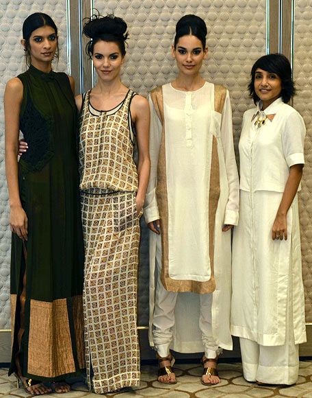 Vogue Fashion Fund 2013 semi-finalist Nupur Kanoi with creations from her latest collection