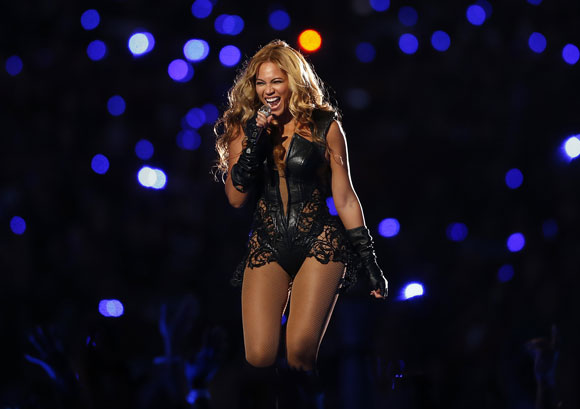 Beyonce performs during the half-time show of the NFL Super Bowl XLVII football game in New Orleans, Louisiana, February 3, 2013.