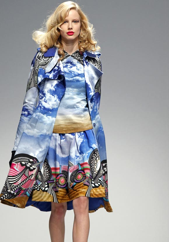 In Manish Arora's creations, the blue tones of the sky jostled for space with the bright hues that are his trademark.
