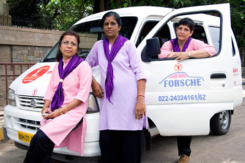 Revathi Roy (right) with ForShe employees