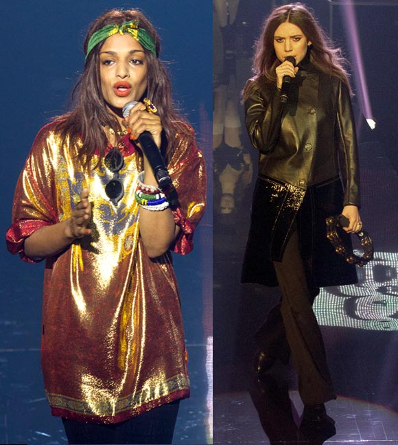 Singers M.I.A and Lykke Li perform during the 'Etam Live Lingerie show' 2013 at Bourse du Commerce in Paris.