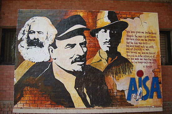 A mural of Bhagat Singh adorns the JNU campus wall
