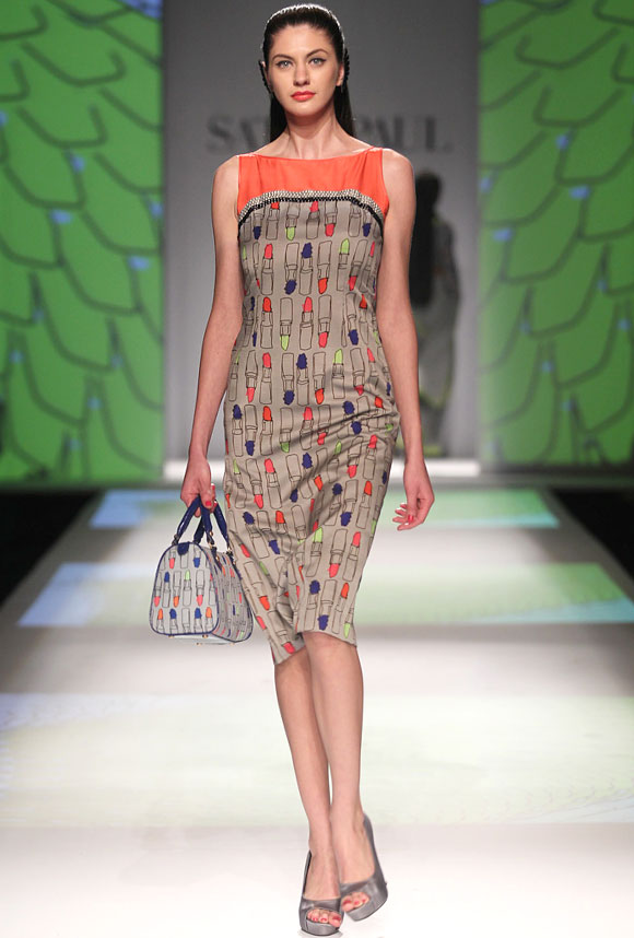 A model wears an outfit by Masaba whose debut collection for Satya Paul was titled Every Neon Counts.