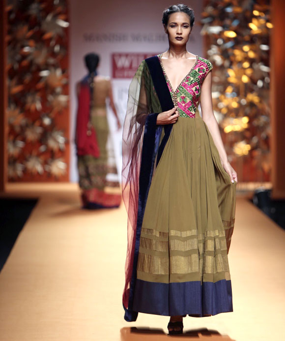 A model walks the ramp for Manish Malhotra.
