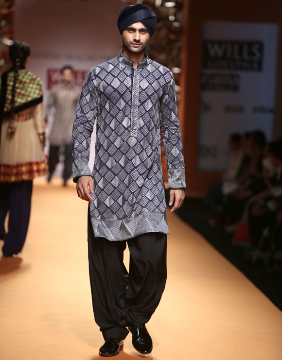A model in a Manish Malhotra creation at WLIFW.