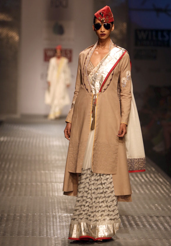 Model Lakshmi Rana shows a creation by Anju Modi.