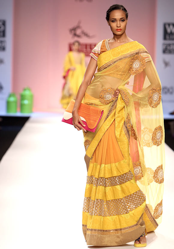 Models shows an Ekta Jaipuria and Ruchira Kandhari creation.
