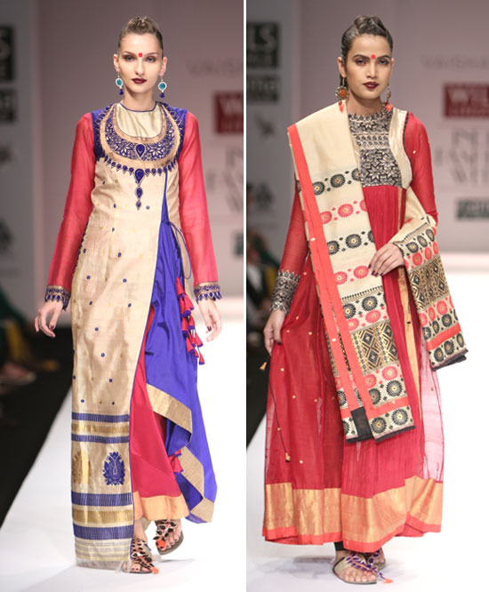 Traditional Assamese weaves are dominant in these ensembles by Vaishali