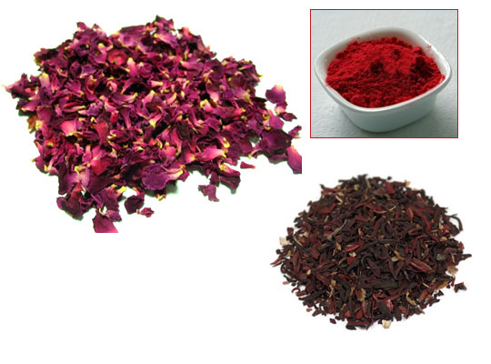 You can grind the dried petals of rose or hibiscus flowers to get red colour