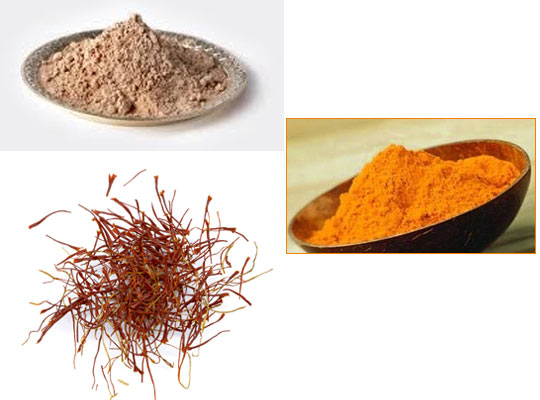 Soak or boil a few strands of saffron in water to get orange colour