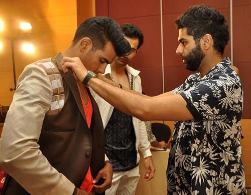 Kunal Rawal (right) at the Lakme fittings in Mumbai