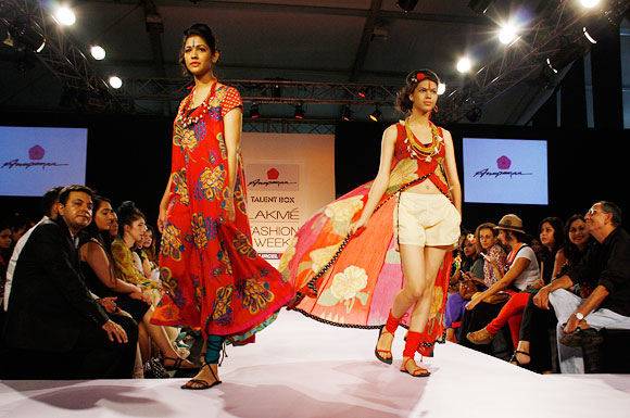 Models walk the ramp wearing Dayal's creations