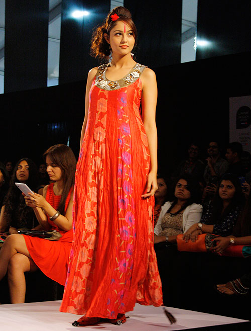 A red sequined dress by Anupama Dayal