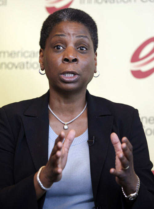 Xerox CEO Ursula Burns speaks at a news conference with fellow U.S. executives about their group's recommendations to Congress and the president to revolutionize U.S. energy innovation at the Newseum in Washington June 10, 2010.
