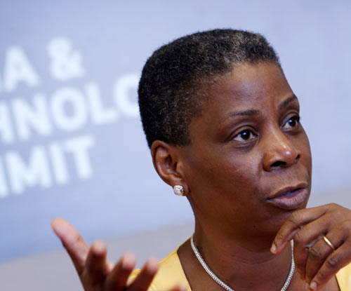 Ursula Burns, Chairman and CEO of Xerox, speaks at the Reuters Global Media and Technology Summit in New York June 14, 2012.