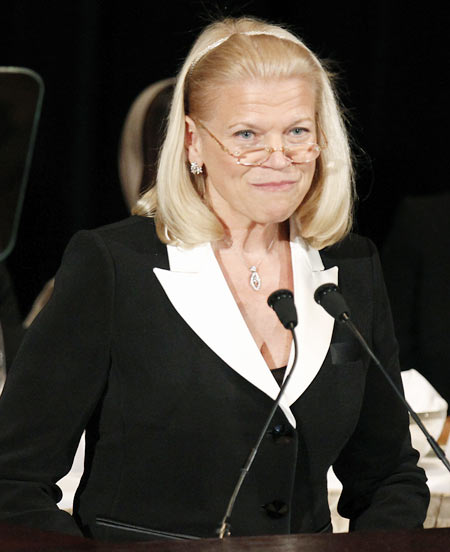 IBM Chief Executive Officer and Chairman of the Board Virginia Rometty gives a speech to the Appeal of Conscience Foundation in New York September 27, 2012.