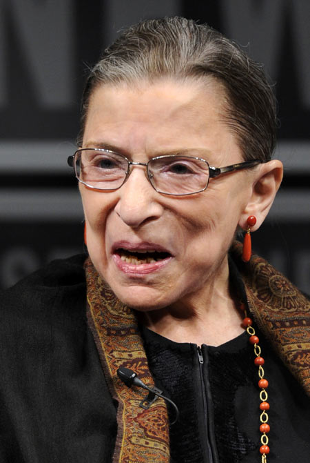 Supreme Court Justice Ruth Bader Ginsburg, who was nominated by former U.S. president Bill Clinton, makes remarks during a forum at the Newseum to mark the 30th anniversary of the first female Justice Sandra Day O'Connor's first term on the Supreme Court in Washington, DC, April 11, 2012.
