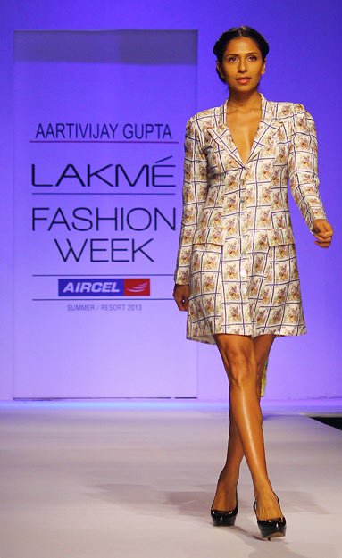 Candice Pinto walks in an Aartivijay Gupta creation