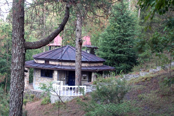 One of the cottages at Kalmatia Sangam - in the middle of the forest, facing the hills