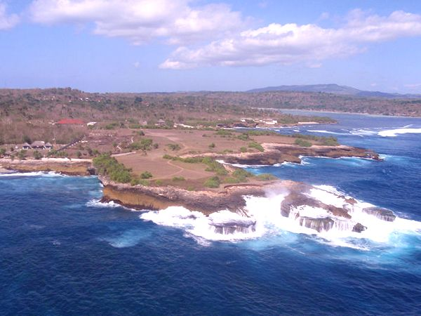 An ariel view of Nusa Lembongan