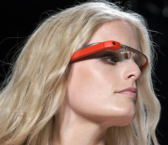 A model displays new product 'Glass by Google' at the Diane von Furstenberg Spring/Summer 2013 collection show during New York Fashion Week September 9, 2012. The show was used as a launching event by Google.