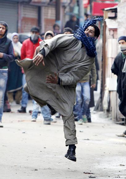 A protester in Srinagar, January 21, 2012.