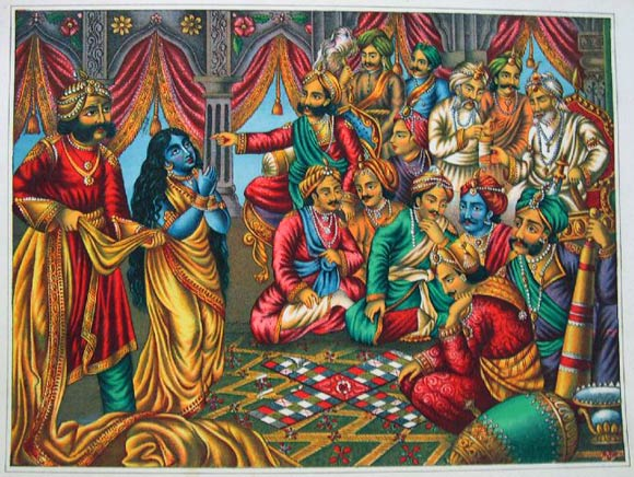 Draupadi prays to Krishna for protection while a court attendant attempts to remove her sari
